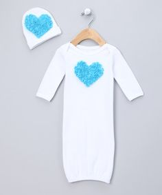 Take a look at this White & Aqua Rosette Heart Gown & Beanie - Infant by One Posh Kid on #zulily today!