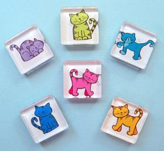 Colorful Cat Magnets Cat Colors, Refrigerator Magnets, Hobbies, Colorful, Cats, Unique Jewelry, Handmade Gifts, Vintage, Rocks