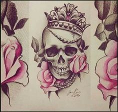 Skull princess crown roses