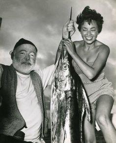 Inge Feltrinelli with Ernest Hemingway