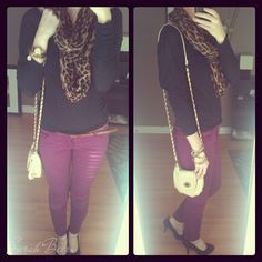 leopard print scarf with purple pants