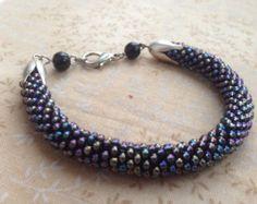 Handmade Crochet Rainbow Grey Czech Seed Beads Bracelet