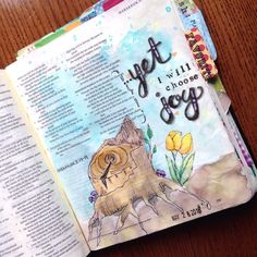 """#habakkuk3 :17-19. This morning I came across a lovely bible journal entry by @danaleighlewis - she turned the phrasing in this verse to """"choose joy"""". I was so inspired that I had to do a page of my own. While these past few years have not been the most happy stage of my life I am beyond grateful to say that every day (Every. Single. Day) there is a reason to find joy. God is so faithful and I am so thankful! #illustratedfaith #biblejournalingcommunity #biblejournal #ipaintinmybible…"""
