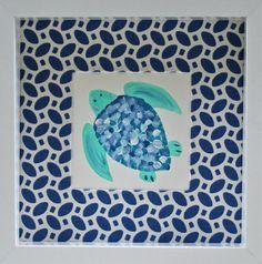 Mini Sea Turtle Art blue and turquoise by LemondaisyDesign on Etsy, $48.00