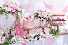 Sweet Table Details from a Pink + White & Gold Garden Party via Kara's Party Ideas | KarasPartyIdeas.com (4)