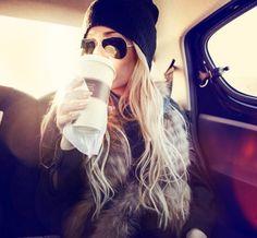 hair. beanie. sunnies. vest. coffee. perfection.