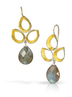 Ravenna Leaf Drop Earrings by Thea Izzi: Gold, Silver & Stone Earrings available at www.artfulhome.com