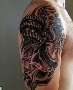 Gear and piston tattoo