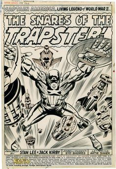 Splash page to CAPTAIN AMERICA #108 by Jack Kirby and Syd Shored. Kirby's border note reads: PLAYING DODGE GAME WITH MISSILES THAT FLY...