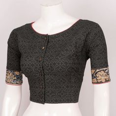 Buy Online Blouses Crop Tops - Hand Block Printed Cotton Blouse With regular Sleeve 10026014 - Size 40 - back - AVISHYA.COM