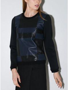 Jonathan Simkhai leather check sweatshirt black/navy