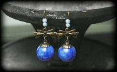 antikbronze Glaskugel Ohrringe mit Perlen