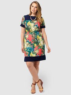 Vibrant Floral Drawstring Dress--Gwynnie Bee