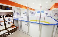 Coventry Homes Oilers Fan Cave - Uplands Showhome Coventry Homes, Edmonton Oilers, New Homes, Man Caves, Fan, Retro, Hockey, Room, Furniture