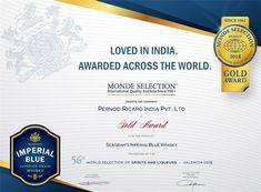 Seagram's #ImperialBlue Whisky Awarded Gold Quality Award at Monde Selection 2018 #PernodRicardIndia