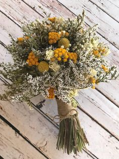 Mustard wedding - Sunshine Yellow Bouquet Dried Wedding Flowers for Bride or Bridesmaid, Country Rustic, Florence and Flowers Posy Twine Buttonhole, Mustard Fall Wedding Flowers, Flower Bouquet Wedding, Bridesmaid Bouquet, Wedding Yellow, Mustard Yellow Wedding, Wedding Bridesmaids, Wild Flower Wedding, Country Wedding Bouquets, Yellow Bridesmaids