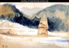 Liberty Cap and Clematis Gulch - Thomas Moran - www.thomas-moran.org