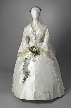 Fripperies and Fobs : Photo Wedding Dress circa 1855 silk taffeta and lace
