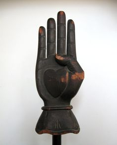 Here is a rare and fantastic late 19th century folk art carving of a heart and hand that likely dates from the 1880s.