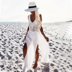 New White Beach Dress Cover Up Dress Beach Hand Knit Swimwear Women Tunic Beachwear Femme Chiffon Swimsuit Long White Beach Dress, Dress Beach, Beach Skirt, Long Beach, Summer Beach, Summer Vibes, Beach Kaftan, Spring Summer, Summer Dresses For Women