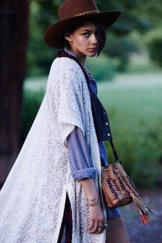 Line & Dot Embroidered Kimono Jacket