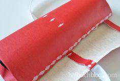 halbachblog I DIY Tutorial: Pinselrolle nähen aus Tafelstoff I chalkboard fabric I sewing I Bänder I ribbons I Rot Weiß