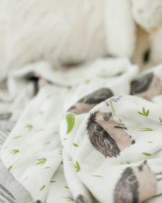 Deluxe Muslin Quilt - Hedgehog- https://littleunicorn.com/products/hedgehogquilt