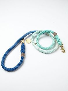 """Overdyed rope dog leash with brass metal hardware metal tab that says """"FOUND"""" on it."""
