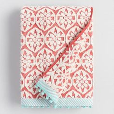 One of my favorite discoveries at WorldMarket.com: Coral and Aqua Orchid Foulard Sculpted Bath Towel