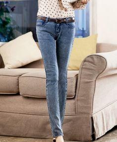 Skinny Jeans in Grey Snow Wash