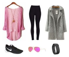 """""""Comfy"""" by kristgsig on Polyvore featuring NIKE, Fitbit and Ray-Ban"""