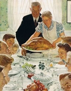 Thanksgiving!  Who doesn't love Norman Rockwell's famous depiction of Thanksgiving.