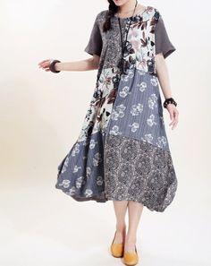 Women long sundress Linen stitching Long short sleeved dress by MaLieb on Etsy https://www.etsy.com/listing/80780262/women-long-sundress-linen-stitching-long