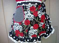 Aprons  Womens Half Tattoo Aprons  Skull and Roses by AnniesAttic, $28.95