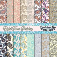 Digital Paper Pack 16 Light Tone Paisley Pattern paper craftscard by DigitalMagicShop, $2.50