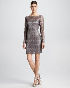 I want to wear this to the awards banquet! Kay Unger New York Beaded Cocktail Dress - Neiman Marcus