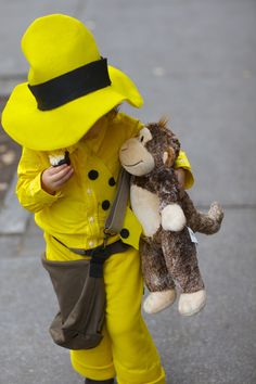 my daughter as The Man with the Yellow Hat-- a huge hit! #costume #halloween