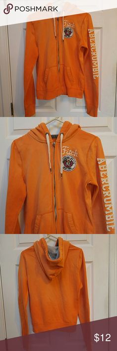 Abercrombie & Fitch Orange Hooded Jacket Orange hooded jacket. Zippers down the front. Two front pockets. Soft to the touch. Size L. Made from 60% cotton and 40% polyester. In good wearable condition. Abercrombie & Fitch Shirts & Tops Sweatshirts & Hoodies