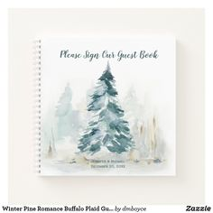 Winter Pine Romance Pine Green Back Guest Book - rustic wedding marriage love cyo