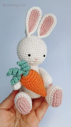 You can make this cute bunny yourself with our detailed photo tutorial. Visit our website this week to get a discount. Crochet Bunny Pattern, Crochet Rabbit, Crochet Animal Patterns, Stuffed Animal Patterns, Crochet Patterns Amigurumi, Amigurumi Doll, Crochet Animals, Crochet Baby Toys, Easter Crochet