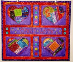 Crazy Quilted Hearts Wallhanging - Quilting Daily