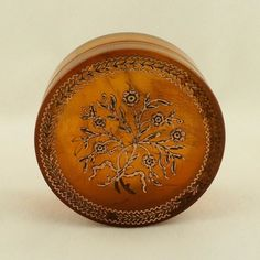 Antique French Patch Box Blond Tortoiseshell Pique Work, Late 1700's