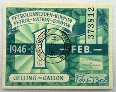 February 1946 Johannesburg South Africa Petrol Ration Coupon 1 Gallon. 373812