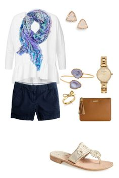 """Watching HGTV••"" by sunglamourandpreppiness ❤ liked on Polyvore featuring Janna Conner, J.Crew, Jack Rogers, Kate Spade, Olivia Burton, BaubleBar, GiGi New York and Kendra Scott"