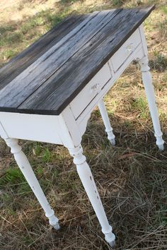 Little Farm Table - boards distressed with vinegar stain and painted with chalk paint then distressed.