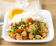 Stir-frying is a popular vegetarian form of cooking. This recipe throws together rice, tofu, and vegetables for a meal that can be prepared in 30 minutes.