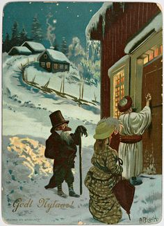 If you are ever in Norway on Halloween and you try trick-or-treating, you may be sorely disappointed. In Norway, we Trick-or-Treat on New Year's Eve. Christmas Beer, Christmas Hacks, Christmas Past, Christmas Quotes, Norwegian Christmas, Scandinavian Christmas, Vintage Cards, Vintage Postcards