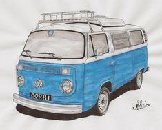 vos vw en dessin (combi,split,et autres) - Page 2 Vw T1, Volkswagen, Combi T2, Combi Split, Kids Motorcycle, Drawing Sketches, Drawings, Car Illustration, Car Painting