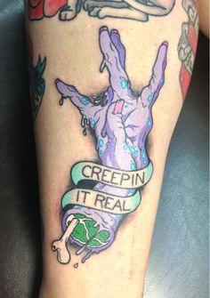 Creepin It Real tattoo by David Boterhoek, original illustration by Jordan Debney