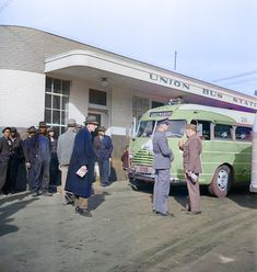 Cumberland County | Noon Sun Books. Colorized by Steve Smith. #bus #soldiers #crowd #transportation #northcarolina